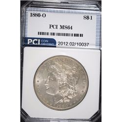 1880-O MORGAN SILVER DOLLAR, PCI GRADED  GEM BU WHITE