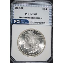 1880-S MORGAN SILVER DOLLAR, PCI GEM BU WHITE