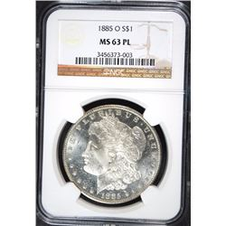 1885-O MORGAN SILVER DOLLAR, NGC MS-63 PL