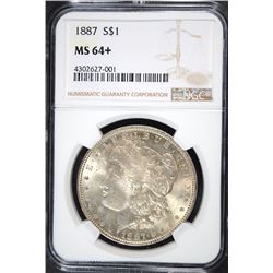1887 MORGAN SILVER DOLLAR, NGC MS-64+