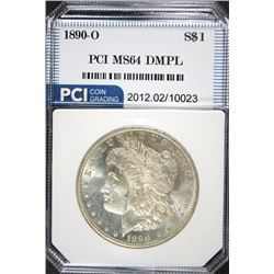1890-O MORGAN SILVER DOLLAR, PCI GEM BU  DMPL WHITE, RARE!