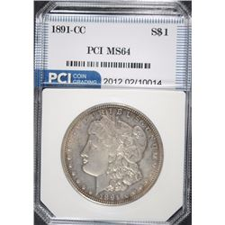 1891-CC MORGAN SILVER DOLLAR, PCI  GEM  BU
