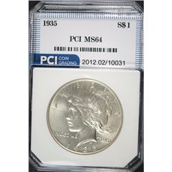 1935 PEACE SILVER DOLLAR, PCI  GEM BU