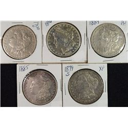 5 - XF/AU MORGAN DOLLARS; 1885, 1879-S, 1889, 1896, 1900-O