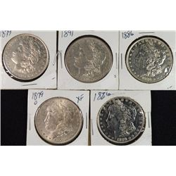 5 - XF/AU MORGAN DOLLARS; 1879, 1879-O, 2-1886, 1891