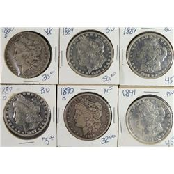 6 - FINE / VF MORGAN DOLLARS; 1880-S, 2-1884, 1887-O, 1890-O, 1891