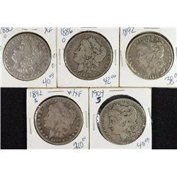 5 - CIRCULATED MORGAN DOLLARS; 1880-O, 1886-O, 1892, 1892-S, 1904-S