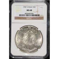 1987 AMERICAN SILVER EAGLE NGC MS68