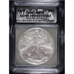 2007 AMERICAN SILVER EAGLE ICG MS70 - FIRST DAY ISSUE