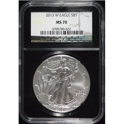 2013-W AMERICAN SILVER EAGLE NGC MS70 - RETRO HOLDER