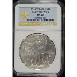 2014-W AMERICAN SILVER EAGLE NGC MS70 - EARLY RELEASES