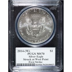 2014- (W) AMERICAN SILVER EAGLE PCGS MS70 - FIRST STRIKE - SIGNED MILES STANDISH