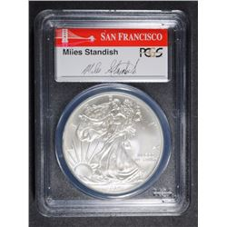 2014-(S) AMERICAN SILVER EAGLE PCGS MS70 - FIRST STRIKE - SIGNED MILES STANDISH