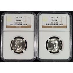 2 - 1946-S WASHINGTON QUARTERS NGC MS65