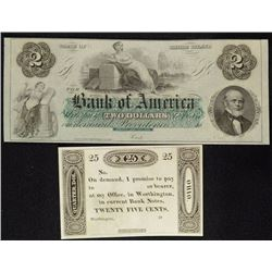2 - BROKEN NOTES UNISSUED - GEM CHOICE UNC - RHODE ISLAND $2  & OHIO 25c NOTE