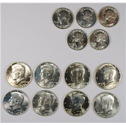 8- GEM BU 40% SILVER 1976-S HALF DOLLARS, 5- GEM BU 40% 1976-S WASHINGTON
