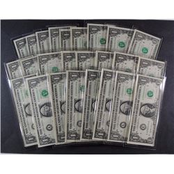 LOT OF ( 25 ) 1999 U.S. $1.00 NOTES FROM THE MILLENIUM COIN & CURRENCY SET