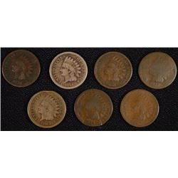 (7) INDIAN HEAD CENTS (1860, 1863, 1864, 1865, 1867, 1868, 1878)