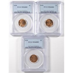 ( 3 ) 1939 LINCOLN CENTS, PCGS MS-66 RED