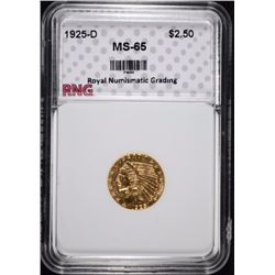 1925-D $2.50 INDIAN HEAD GOLD QUARTER EAGLE RNG GEM UNC