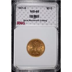 1901-S $5 Gold Liberty Head Half Eagle RNG GEM UNC