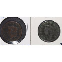 2 COINS - 1817 ONE CENT WIDE DATE 13 STARS & 1827 LIBERTY ONE CENT