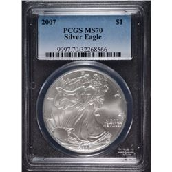 2007 AMERICAN SILVER EAGLE, PCGS MS-70 PERFECT!