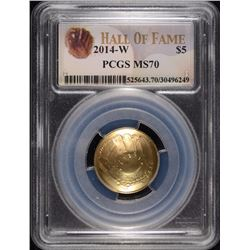 2014-W $5 GOLD BASEBALL COMMEN PCGS MS-70!!!!!!! (HALL OF FAME)