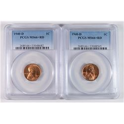 2-1940-D LINCOLN CENT PCGS MS66+RD