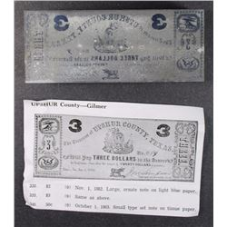 TEXAS CONFEDERATE PRINTING BLOCK THAT PRODUCED  A THREE DOLLAR BEARER NOTE