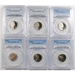 (6) JEFFERSON NICKELS PCGS PR-69 DCAM