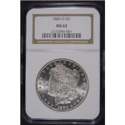 1880-O MORGAN SILVER DOLLAR NGC MS-62