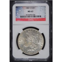 1887-O MORGAN SILVER DOLLAR NGC MS-63