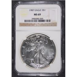 1987 SILVER AMERICAN EAGLE NGC MS 69