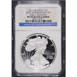2011-W 25th ANNIVERSARY SET EARLY RELEASES AMERICAN EAGLE NGC PF 70 ULTRA CAMEO