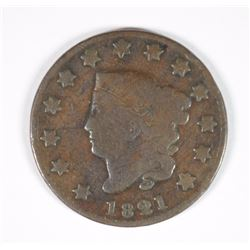 1821 LARGE CENT VG KEY DATE