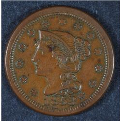 1853 LARGE CENT AU NICE BROWN COLOR
