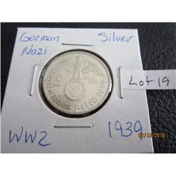 Sliver German Nazi Coin (11) WW 2 1939