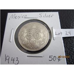 Mexico 1943 Sliver fifty centaros
