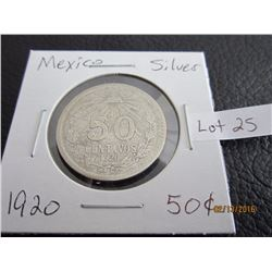 Mexico 1920 Sliver fifty centaros