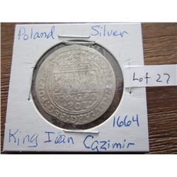 Poland silver coin 1664 King 1 Cazimir