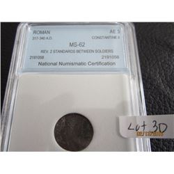 Roman coin Constantia 2 317-340 AD Graded MS 62