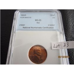 1955/5 Poor Man's Do Graded MS- 65 Red American Penny