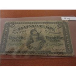1870 Dominion of Canada 25¢ Bill Shinplaster