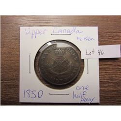 1850 one penny Upper Canada token