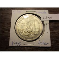 1958 Silver Canadian dollar