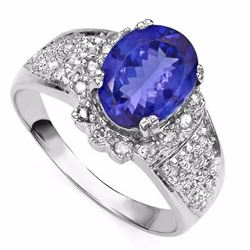 Natural Tanzanite & Diamond Gold Ring