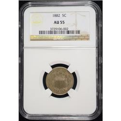 1882 SHIELD NICKEL, NGC AU-55