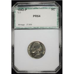 1942-P SILVER JEFFERSON NICKEL, GEM PROOF  PCI GRADED