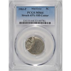 1983-P JEFFERSON NICKEL MINT ERROR PCGS MS-64 STRUCK 65% OFF CENTER